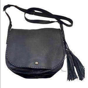 Patricia Nash Black Leather Saddle bag